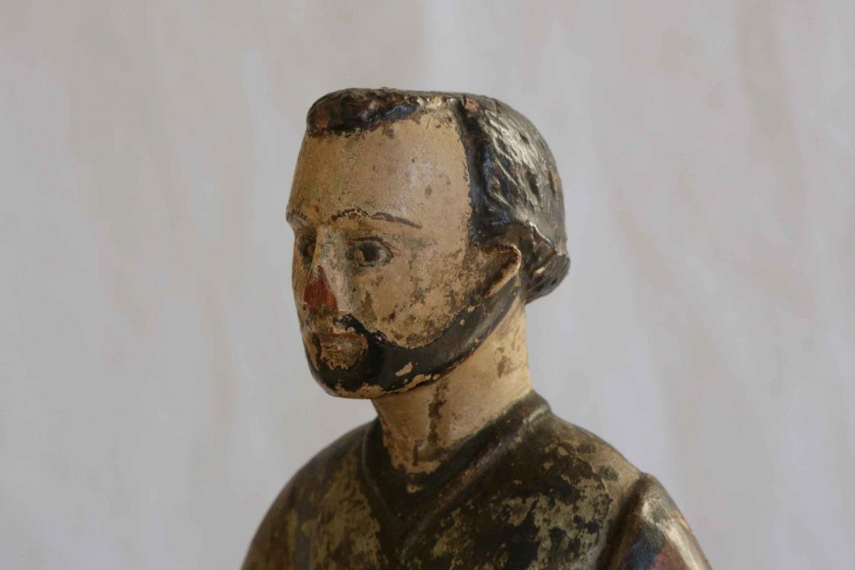 Wooden Statue, Polychrome, XVIIth Century