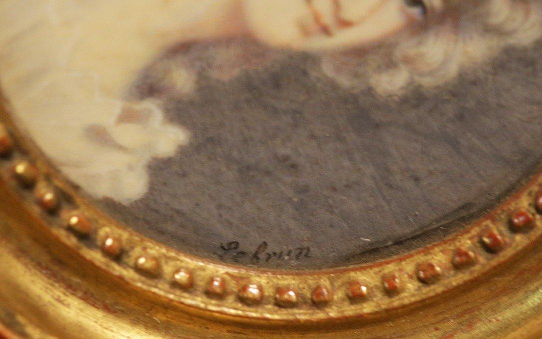 Miniature Sur Ivoire, portrait signé Lebrun-photo-2