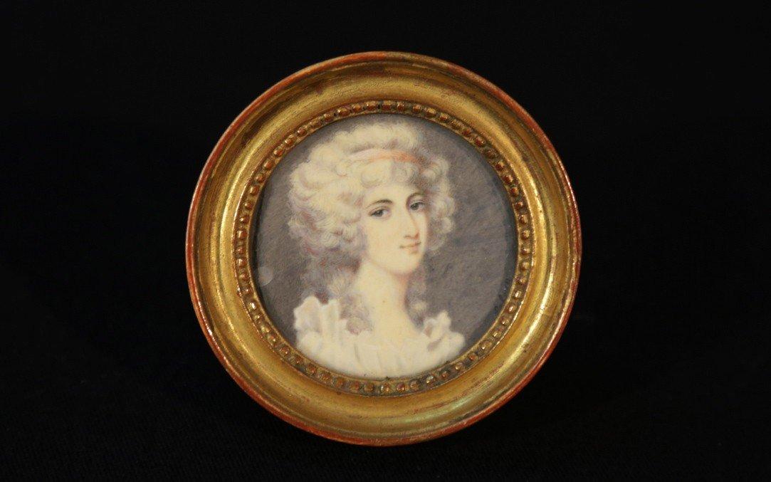 Miniature Sur Ivoire, portrait signé Lebrun