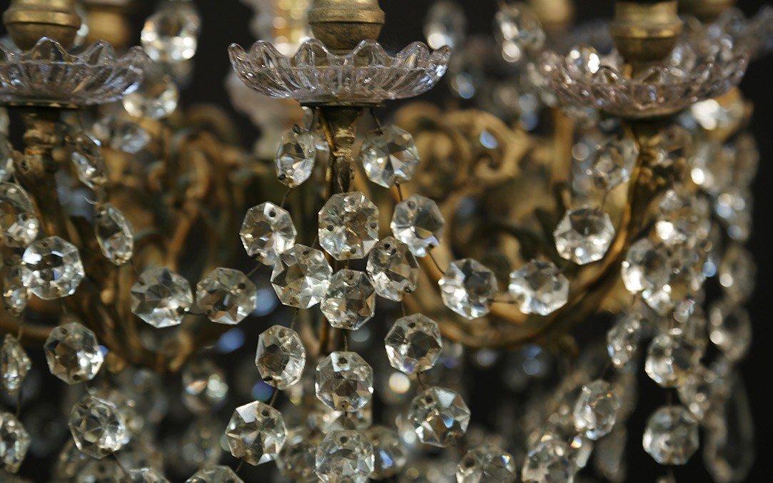 Lustre à Pampilles 9 Lampes, XIXème-photo-3