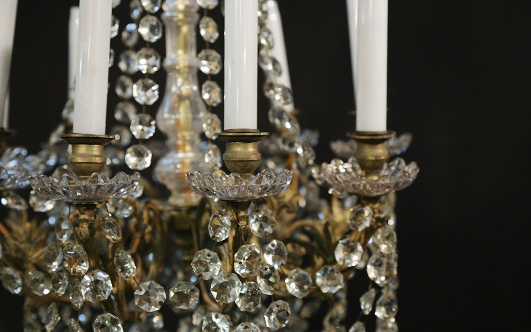 Lustre à Pampilles 9 Lampes, XIXème-photo-1