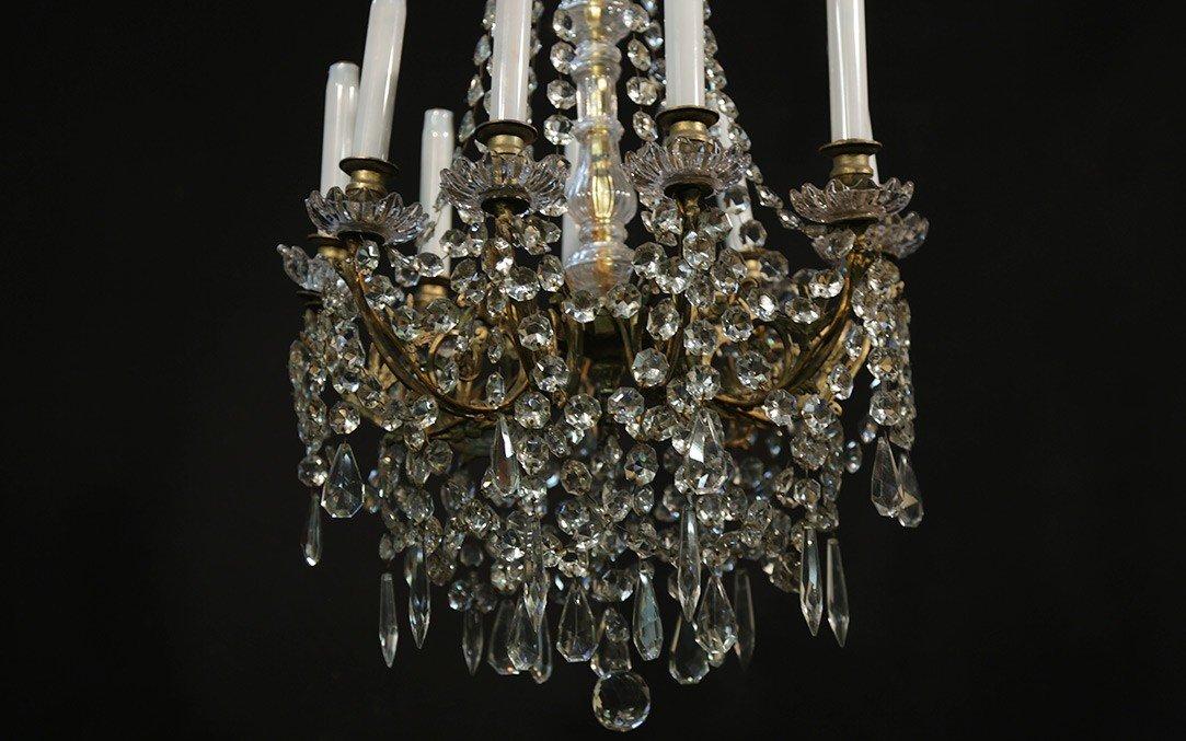 Lustre à Pampilles 9 Lampes, XIXème-photo-5