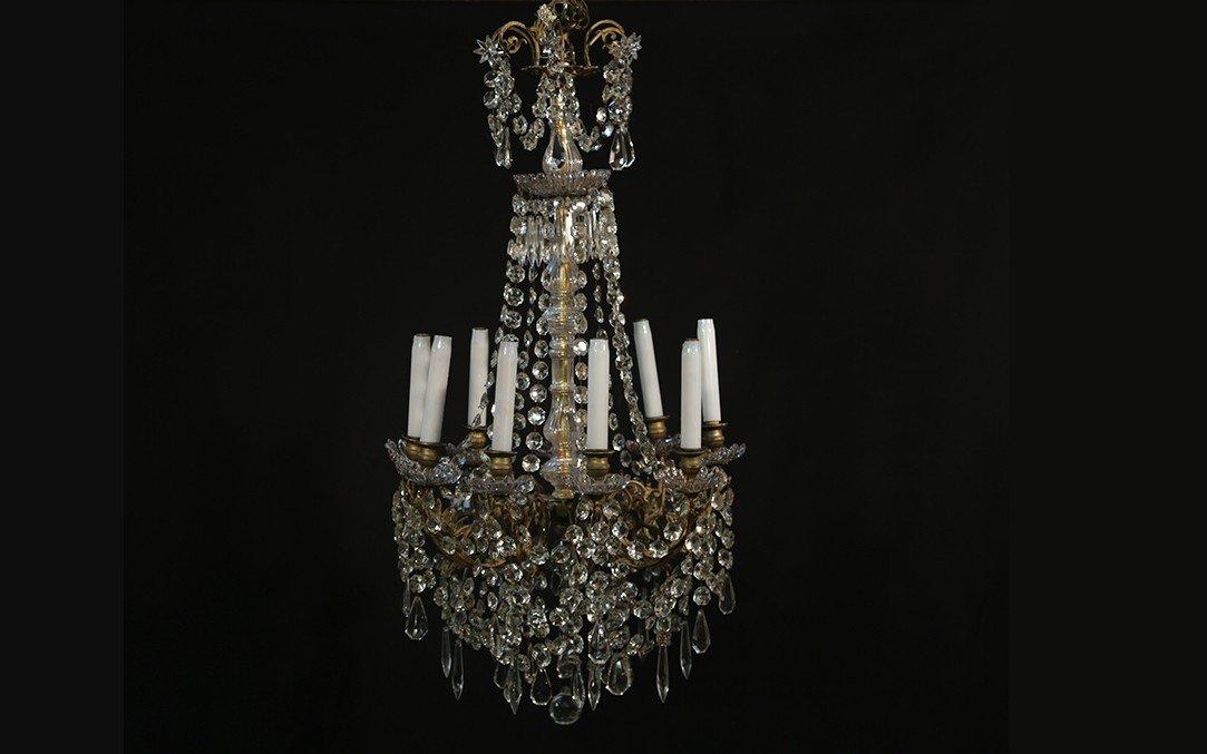 Lustre à Pampilles 9 Lampes, XIXème