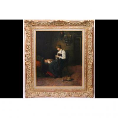 Huile Sur Toile, Femme Au Tricot, William De Lancy-ward