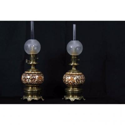 Paire De Lampe Gien, Non électrifiées, XIXème Siècle