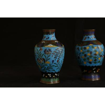 Paire De Vases Cloisonnés, Chine, XIXème Siècle