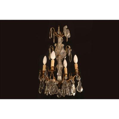 Lustre à Pampilles Et Bronze, 4 Lampes