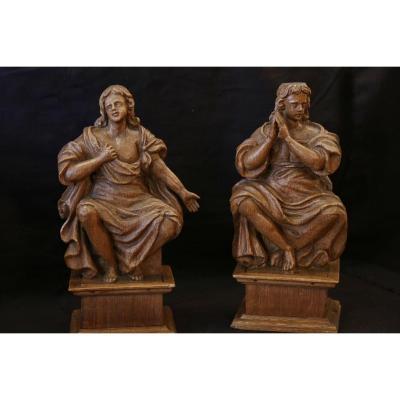 Paire De Statues En Bois, XVII-XVIIIeme Siècle