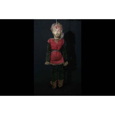Marionnette En Bois Et Tissus, XVIIIème Siècle