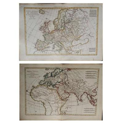Pair Of Maps Of Europe From XVIIIth Century Cartographer R. Bonne