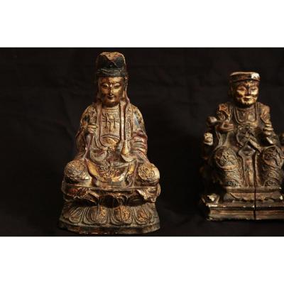 Pair Of Golden Wood Statues, Nineteenth, China