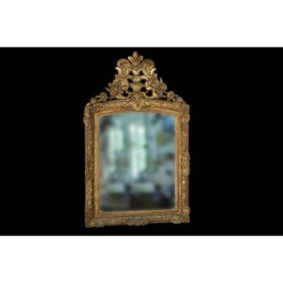 Miroir Régence En Bois Doré, XVIIIème, Miroir Mercure, Dorure d'époque