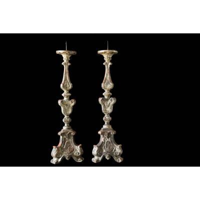 Pair Of Candelabra, Candlesticks In Silvered Wood Eighteenth Century