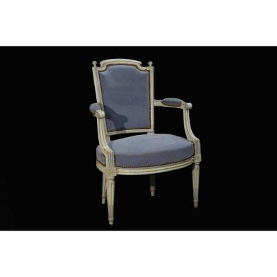 Directoire Armchair, White Patina End 18th