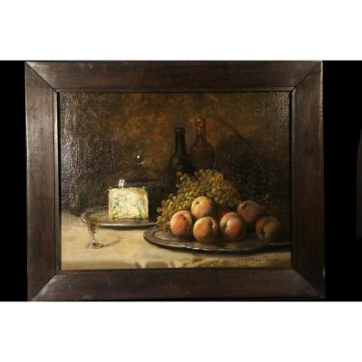 Oil On Canvas, Still Life, Signed Théodore Lévigne