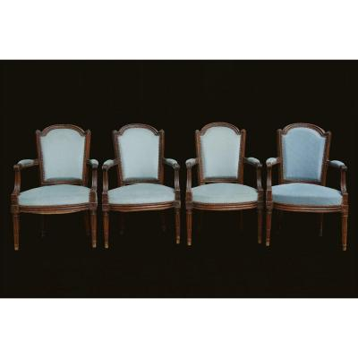 4 Louis XVI Armchairs, Cabriolets, XVIIIth