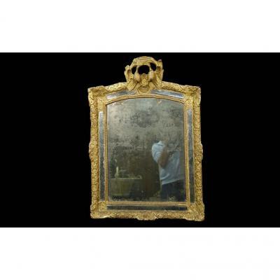 Grand Miroir Régence, Entièrement d'époque, 69 X 100 Cm