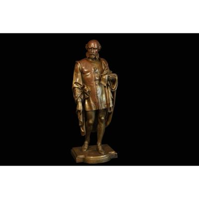Statue Of Galileo In Bronze, Brown Patina, 19h