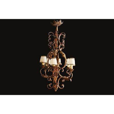 Rustic Wrought Iron Cage Chandelier, Late 19th Early 20th
