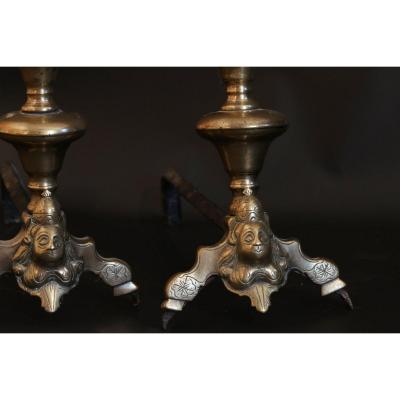 Pair Of Andirons, Bronze Log Holder, Louis XIV, Marmousets Decor