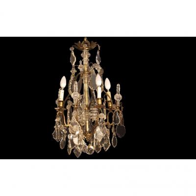 XIXth Chandelier, Pampilles, Crystal And Bronze