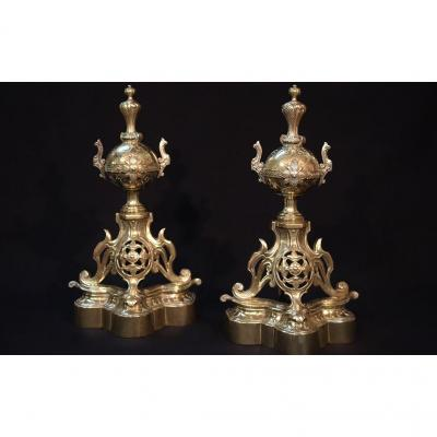 Pair Of Andirons, Fireplace Set, Bronze