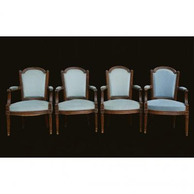 4 Louis XVI Cabriolet Armchairs, 18th Century
