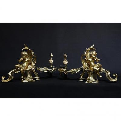 Chenets En Bronze Ciselé Et Doré XVIIIe