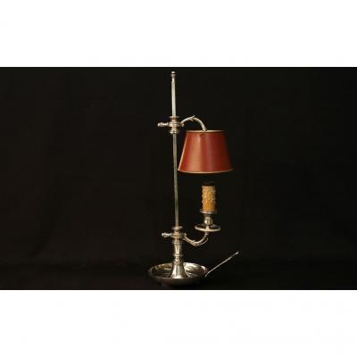 Lampe Bouillotte, Un Feu, Bronze Argenté