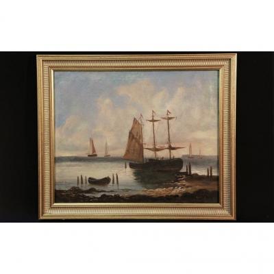 Huile Sur Toile, Marine Signée Gabriel Bois, XIXème