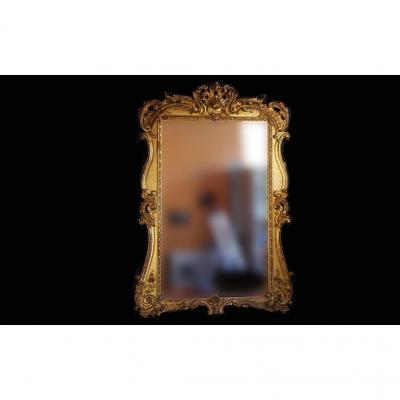 Miroir En Bois, Stuc, Dorure à La Feuille