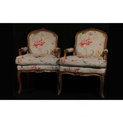 Pair Of Armchairs To Queen Louis XV