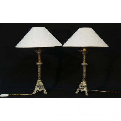 Paire De Lampes En Bronze Néogothique