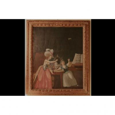 Huile Sur Toile XVIIIème siècle, Cadre d'époque Louis XIV