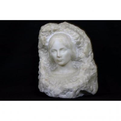 Visage De Femme, Marbre Blanc, Début XXème