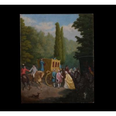 Old Oil Painting On Canvas 19th Century.france