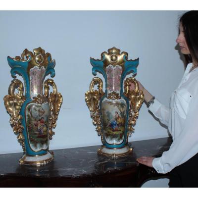 Paire De Vases Ancienne  En Porcelain Peints à La Main, 1850-60 Naples