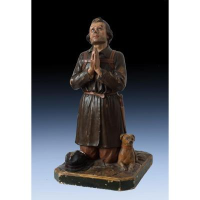 Carved Wood Sculpture Representative Saint Roch With The Dog, 18th Century.
