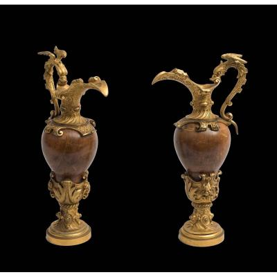 Pair Of Old Amphorae In Gilt Bronze And Wood. XIX Century Period.