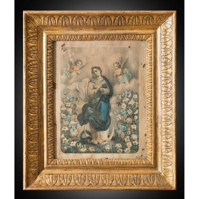 """Old Painting """"watercolor Representing The Immaculate"""", Naples 19th Century."""
