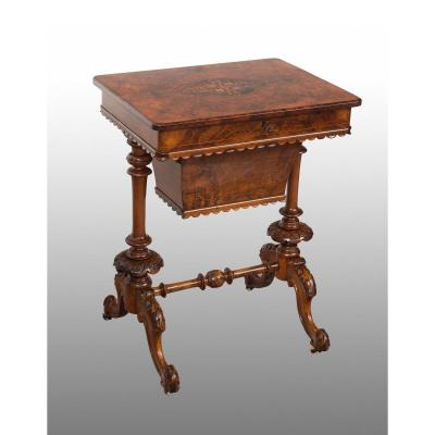 Small Victorian Work Table Old 19th Century.
