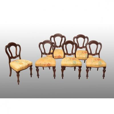 Group Of Six Antique Victorian English Mahogany Chairs. Period 19th Century.