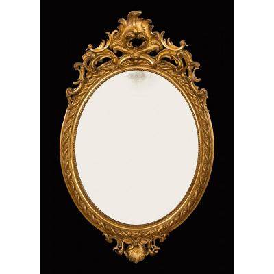 Old French Mirror In Golden And Carved Wood. Period 19th Century.