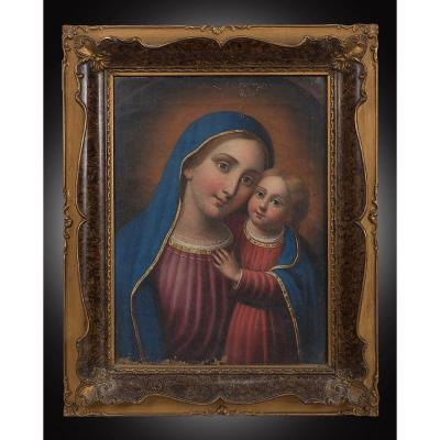 Old Oil On Canvas Painting Representing The Virgin And Child. Naples XIXth Century.