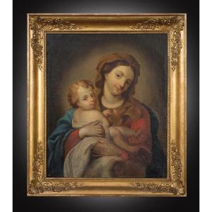 Tableau ancienne huile Sur Toile Représentant La Vierge et L'Enfant. Naples XVIIIe Siècle.