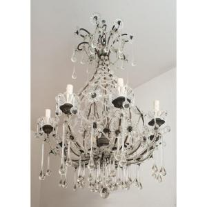 Antique Neapolitan Chandelier In Pewter And Crystal From The Twentieth Century.