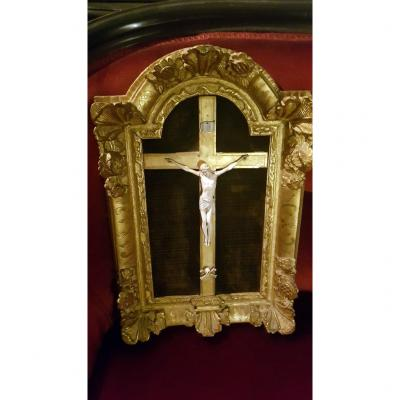 Christ In Ivory In Its 18th Century Frame