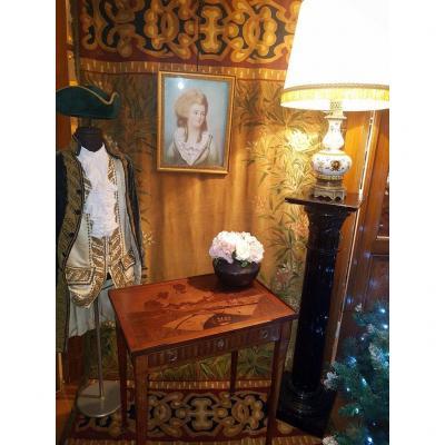 Table à écrire   Marqueterie  à  décor de  Montgolfière   Epoque Restauration