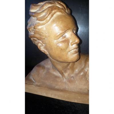 """"""" Buste d' Homme en Terre Cuite """" Sculpture signée Cipriani . Epoque Art Déco"""