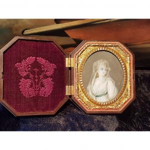 """""""Painted miniature"""" XIXth Century signed Sylvaire. In an ebonite case. Embroidered velor interior. Golden brass strapping Superb conservation of the whole"""